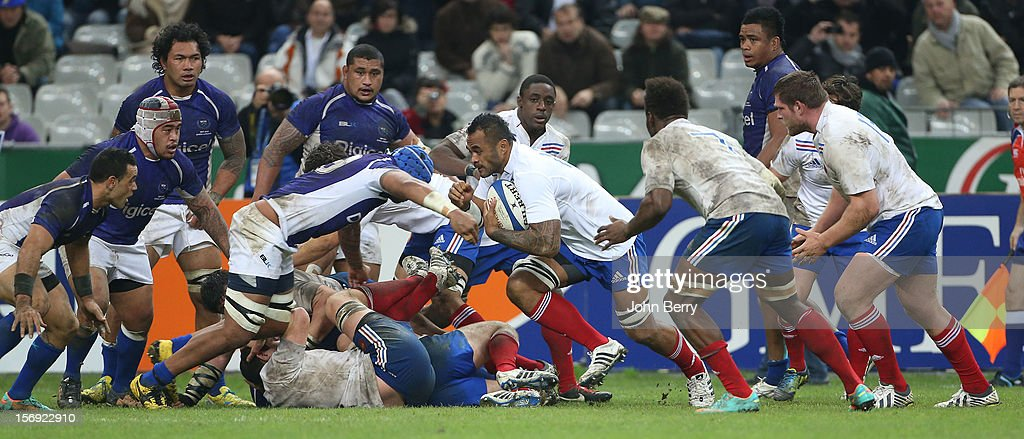 Jocelino Suta of France in action during the Rugby Autumn International between France and Samoa at the Stade de France on November 24, 2012 in Paris, France.