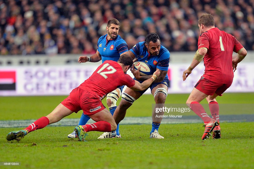 Jocelino Suta of France in action during the Tournoi RBS 6 Nations - France vs. Wales at Stade de France on February 28, 2015 in Paris, France.