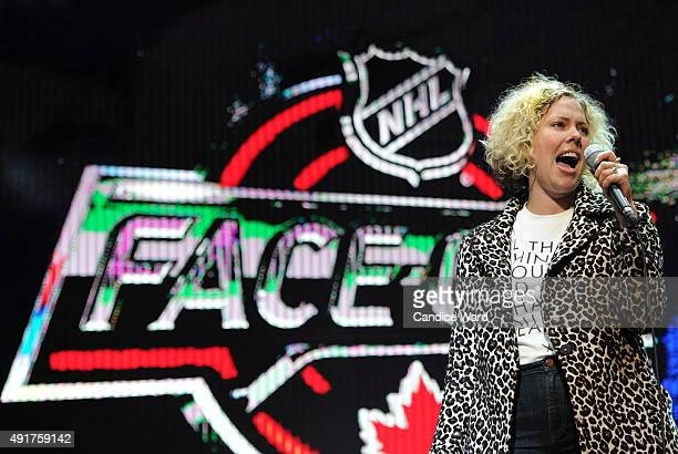 Jocelyn Alice performs during the 2015 Molson Canadian NHL FaceOff at Fort Calgary on October 7 2015 in Calgary Alberta Canada