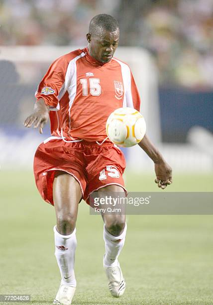 Jocelyn Angloma in action for Guadeloupe Mexico beat Guadeloupe 10 in the semifinal of the 2007 Gold Cup at Soldier Field in Chicago on June 21 2007...