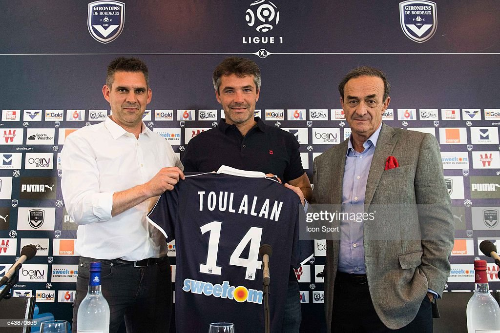 Jocelyn Gourvenec and Jean Louis Triaud and Jeremy Toulalan of Girondins de Bordeaux during the first training session on Girondins de Bordeaux for the new Ligue 1 season at on June 30, 2016 in Bordeaux, France.
