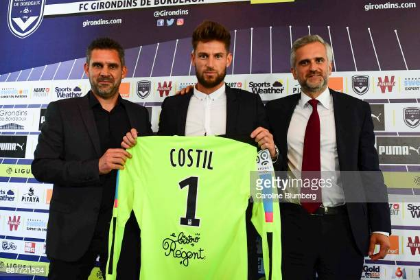 Jocelyn Gourvennec headcoach New signing player of Bordeaux Benoit Costil and president Stephane Martin during press conference on May 24 2017 in...
