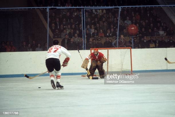 Jocelyn Guevremont of Canada looks to shoot against goalie Vladislav Tretiak of the Soviet Union during the 1972 Summit Series at the Luzhniki Ice...