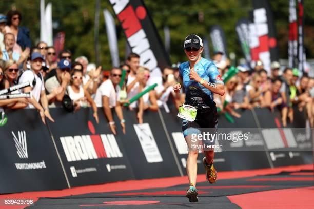 Jocelyn McCauley of the USA on her way to winning IRONMAN 703 Vichy on August 26 2017 in Vichy France