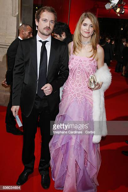 Jocelyn Quivrin and Alice Taglioni arrive at the cocktail party before the 2008 Cesar ceremony in Paris