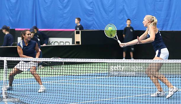 Jocelyn Rae and Heather Watson Great Britain in action against Diana Marcinkevica and Jelena Ostapenko of Latvia during the day one Fed Cup Fed Cup...