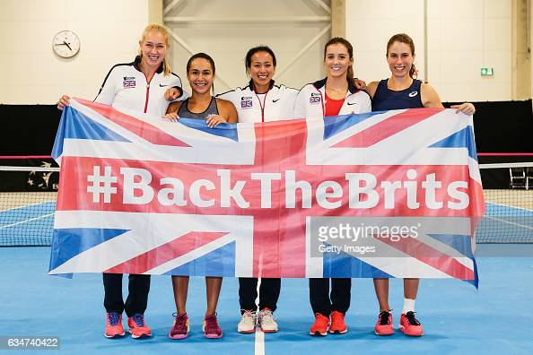 Jocelyn Rae Heather Watson captain Anne Keothavong Laura Robson and Johanna Konta of Great Britain celebrate after the Fed Cup Europe/Africa Group 1...