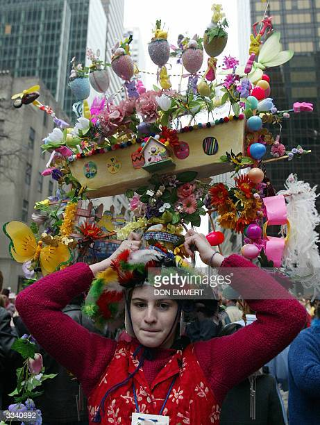 Jocelyne Jeannot shows off her Easter Bonnet on Fifth Avenue 11 April 2004 in New York The Easter Parade along Fifth Avenue from 49th to 57th Streets...