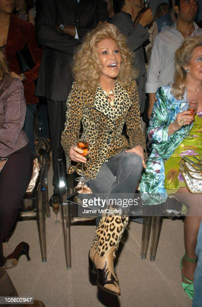 Jocelyne Wildenstein during Olympus Fashion Week Spring 2005 Lloyd Klein Front Row at Plaza Tent Bryant Park in New York City New York United States