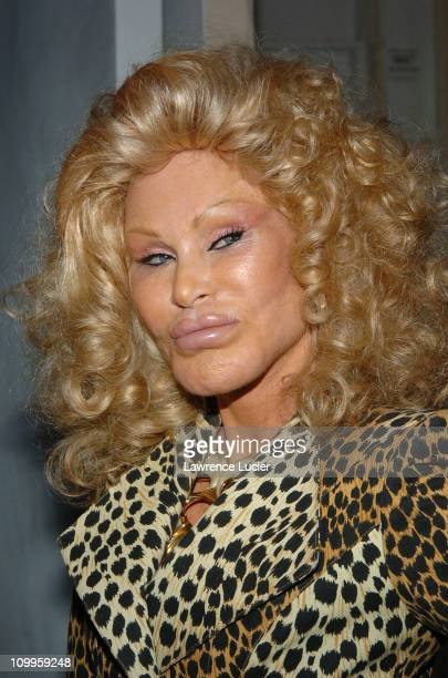 Jocelyne Wildenstein during Olympus Fashion Week Spring 2005 Lloyd Klein Backstage and Front Row at Plaza Tent Bryant Park in New York City New York...