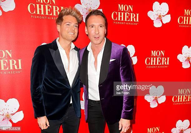 Jochen Bendel and his boyfriend Matthias Pridoehl attend the Mon Cheri Barbara Tag at Postpalast on December 2 2016 in Munich Germany