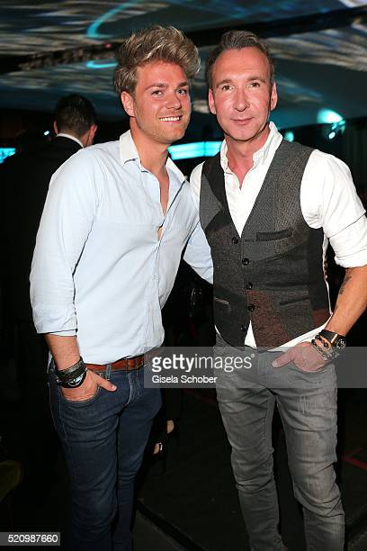 Jochen Bendel and his fiance Matthias Pridoehl during the Maxdome launch of the new entertainment world at Filmcasino on April 13 2016 in Munich...