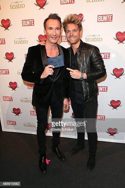 Jochen Bendel and his fiance Matthias Pridoehl during the VIP premiere of Schubecks Teatro's program 'Herzstuecke' at Spiegelzelt on November 5 2015...