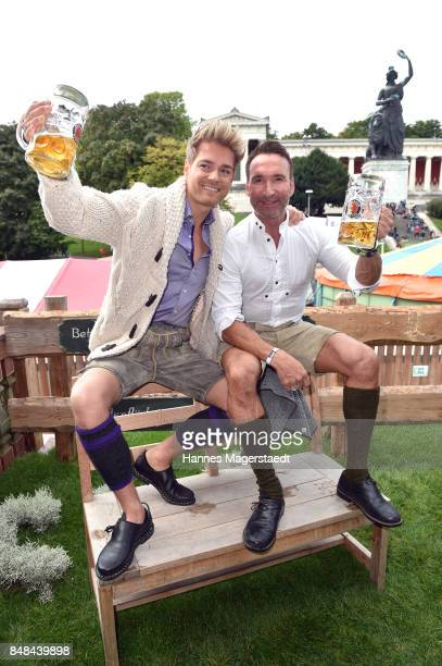 MUNICH GERMANY SEPTEMBER Jochen Bendel and his husband Matthias Pridoehl during the ProSieben Sat1 Wiesn as part of the Oktoberfest 2017 at Kaefer...