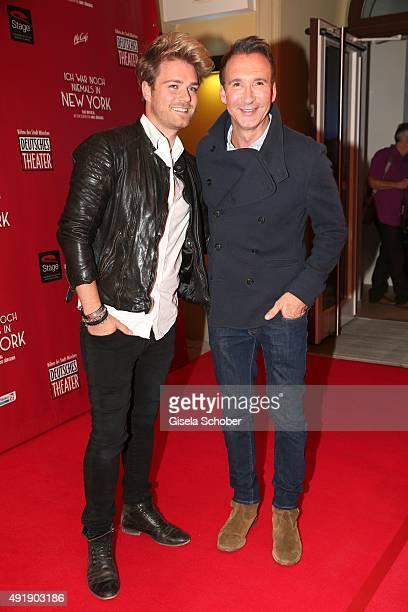 Jochen Bendel and his partner Matthias Pridoehl during the Munich premiere of the musical 'Ich war noch niemals in New York' at Deutsches Theatre on...