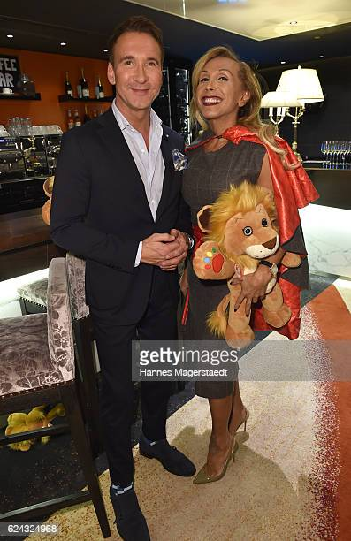Jochen Bendel and Julia Prillwitz during the charity dinner hosted by the Leon Heart Foundation at Hotel Vier Jahreszeiten on November 18 2016 in...