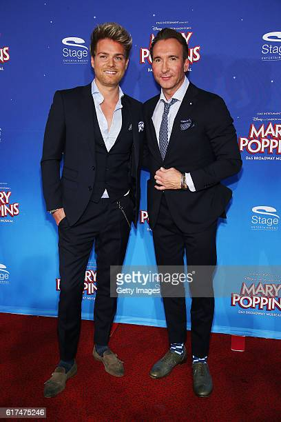 Jochen Bendel and Matthias Bendel attend the red carpet at the premiere of the Mary Poppins musical at Stage Apollo Theater on October 23 2016 in...