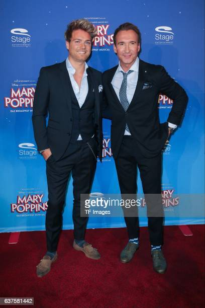 Jochen Bendel and Matthias Pridoehl attend the red carpet at the premiere of the Mary Poppins musical at Stage Apollo Theater on October 23 2016 in...
