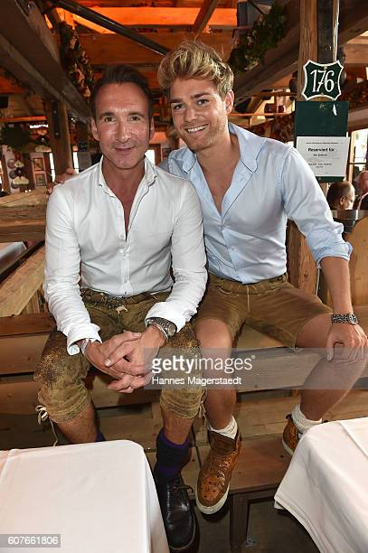 Jochen Bendel and Matthias Pridoehl during the ProSieben Sat1 Wiesn as part of the Oktoberfest 2016 at Kaefer Tent on September 18 2016 in Munich...