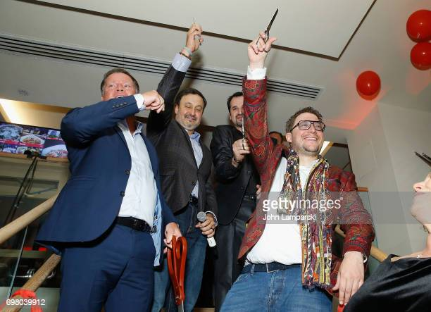 Jochen Halfmann CEO Carlos Politano COO USA Marco Psihas and Mario C Bauer attend Vapiano Grand ReLaunch Party at Vapiano on June 19 2017 in New York...