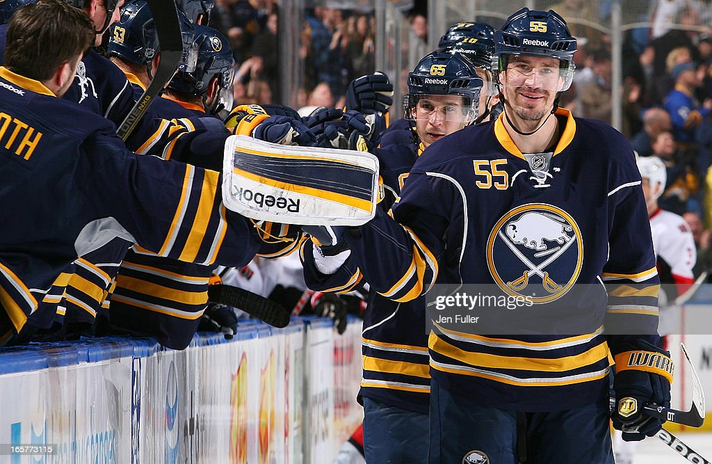 <a gi-track='captionPersonalityLinkClicked' href=/galleries/search?phrase=Jochen+Hecht&family=editorial&specificpeople=203184 ng-click='$event.stopPropagation()'>Jochen Hecht</a> #55 of the Buffalo Sabres celebrates his third-period goal against the Ottawa Senators on April 05, 2013 at the First Niagara Center in Buffalo, New York.