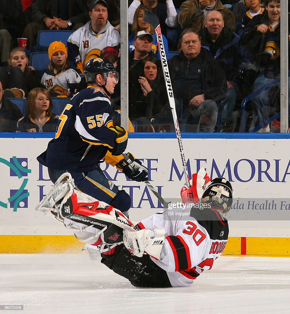 Jochen Hecht #55 of the Buffalo Sabres scores a shootout goal past the fallen Martin Brodeur #30 of the New Jersey Devils on January 27, 2010 at HSBC Arena in Buffalo, New York.