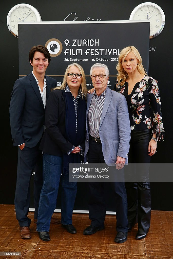 Jochen Laube, Manuela Stehr, Rolf Lyssy, <a gi-track='captionPersonalityLinkClicked' href=/galleries/search?phrase=Veronica+Ferres&family=editorial&specificpeople=207167 ng-click='$event.stopPropagation()'>Veronica Ferres</a> attend German Language Feature Film Jury Photocall during the Zurich Film Festival 2013 on October 4, 2013 in Zurich, Switzerland.