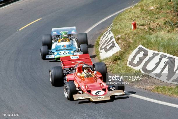 Jochen Rindt Henri Pescarolo LotusFord 49B Matra MS120 Grand Prix of France Circuit de Charade ClermontFerrand 05 July 1970