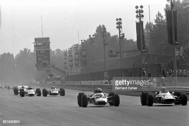 Jochen Rindt Jackie Stewart LotusFord 49B MatraFord MS80 Grand Prix of Italy Monza 07 September 1969