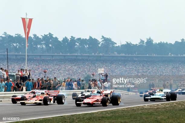 Jochen Rindt Jacky Ickx Jo SiffertPedro Rodriguez Henri Pescarolo LotusFord 49B Ferrari 312 MarchFord 701 Matra MS120 Grand Prix of Germany...