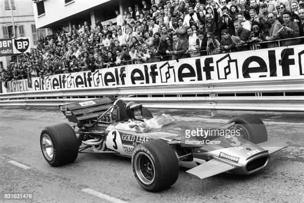 Jochen Rindt LotusFord 49B Grand Prix of Monaco Monaco 10 May 1970 A very happy Jochen Rindt after his last lap last corner victory over Jack Brabham...