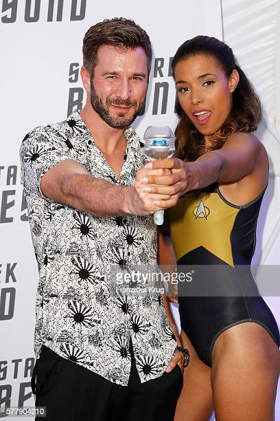 Jochen Schropp and Star Trek model attend the VIP screening of the film 'Star Trek Beyond' at Zoopalast on July 19 2016 in Berlin Germany