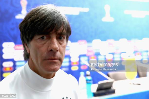 Jochim Loew head coach of team Germany leaves the podium after a Press Conference of the German national team ahead of their FIFA Confederations Cup...