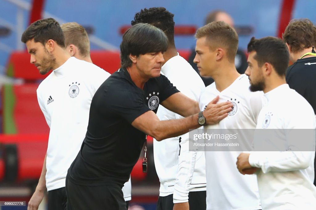 Jochim Loew, head coach of team Germany reacts to his player Joshua Kimmich during a team Germany training session at Kazan Arena on June 21, 2017 in Kazan, Russia. Germany will play against Chile in their Group B FIFA Confederation Cup Russia 2017 match on June 22, 2017 in Kazan, Russia.
