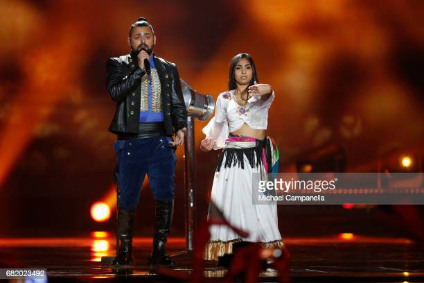 Joci Papai representing Hungary performs the song 'Origo' during the second semi final of the 62nd Eurovision Song Contest at International...