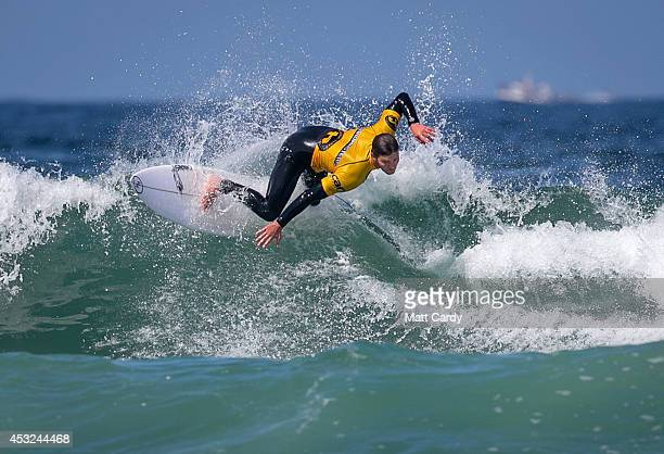 Jock Barnes of Australia competes in a heat on the first day of the Boardmasters surf competition at Fistral Beach on the first day of the...
