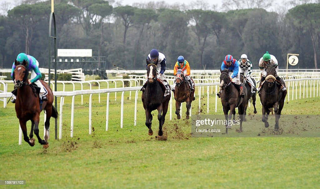 Jockey and owner Federico De Paola rides (3rd R) his blind racehorse Laghat at Ippodromo San Rossore on January 20, 2013 near Pisa, Italy. Laghat is a ten-year-old Italian racehorse who has won 21 races despite being blind, after being born with a mycosis fungal infection in both eyes. Laghat is trained and owned by jockey Federico De Paola in San Rossore near Pisa and has its own facebook page with many followers. Laghat finished fourth at today's Premio Demet.