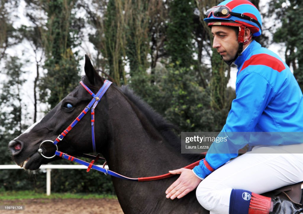 Jockey and owner Federico De Paola rides his blind racehorse Laghat before the race at Ippodromo San Rossore on January 20, 2013 near Pisa, Italy. Laghat is a ten-year-old Italian racehorse who has won 21 races despite being blind, after being born with a mycosis fungal infection in both eyes. Laghat is trained and owned by jockey Federico De Paola in San Rossore near Pisa and has its own facebook page with many followers. Laghat finished fourth at today's Premio Demet.