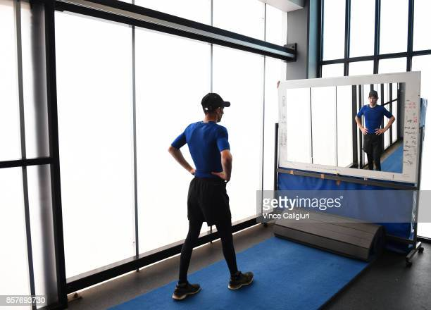 Jockey and rider of Winx Hugh Bowman cools down after taking part in a gym session with personal trainer Trent Langlands on October 5 2017 in...