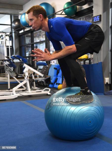 Jockey and rider of Winx Hugh Bowman takes part in a gym session with personal trainer Trent Langlands on October 5 2017 in Melbourne Australia
