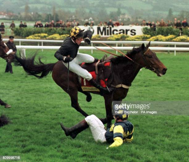 Jockey Barry Fenton on Bellator about to join Norman Williamson who had already fallen from Shadow Leader during the Smurfit Champion Hurdle at...