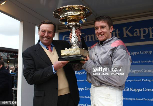 Jockey Barry Geraghty and Trainer Nicky Henderson after winning the Smurfit Kappa Champion Hurdle Challenge Trophy with Punjabi