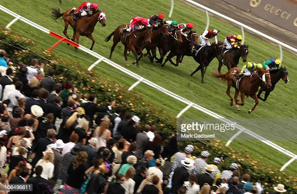 Jockey Ben Melham riding Curtana wins Race Four the Gucci Stakes during Crown Oaks Day at Flemington Racecourse on November 4 2010 in Melbourne...