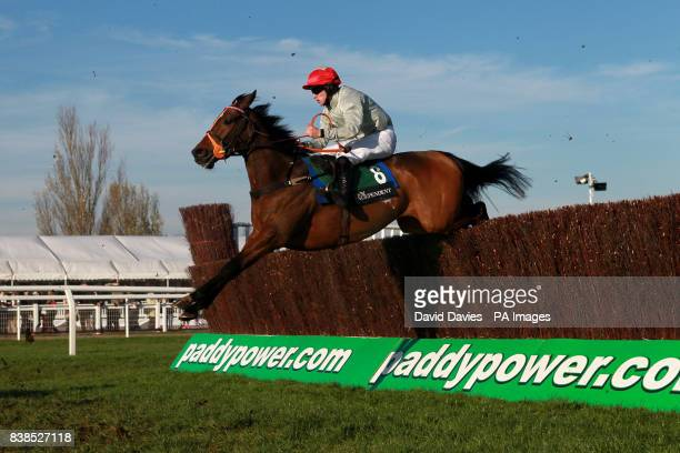 Jockey Brian Hughes on Maggio during the Independent Newspaper Novices Chase
