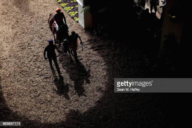 Jockey Brice Blanc rides Dressed In Hermes through the Paddock before the Marathon Stakes race on day one of the 2017 Breeder's Cup World...