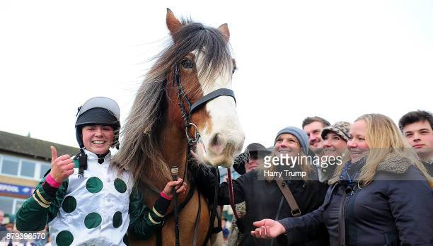 Jockey Bryony Frost celebrates with connections after winning the Exeter Racecourse Clydesdale Stakes on board Stobillee Sirocco at Exeter Racecourse...
