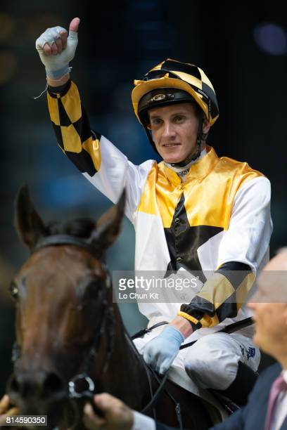 Jockey Chad Schofield riding Flying Quest wins the Race 6 Kings Falcon Handicap at Happy Valley Racecourse on July 12 2017 in Hong Kong Hong Kong