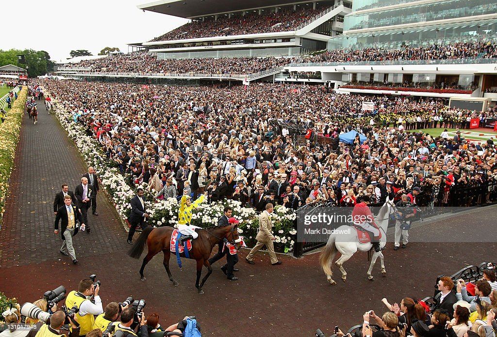 Jockey Christophe Lemaire riding Dunaden returns to scale after winning the 2011 Emirates Melbourne Cup during Melbourne Cup Day at Flemington Racecourse on November 1, 2011 in Melbourne, Australia.