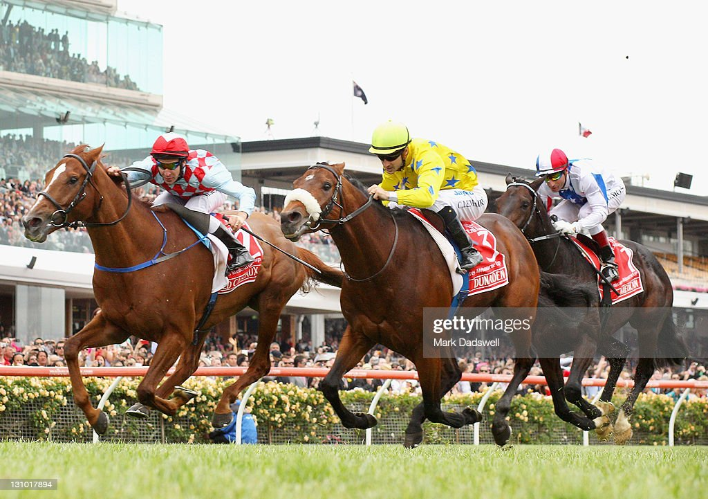 Jockey Christophe Lemaire riding Dunaden wins the 2011 Emirates Melbourne Cup during Melbourne Cup Day at Flemington Racecourse on November 1, 2011 in Melbourne, Australia.