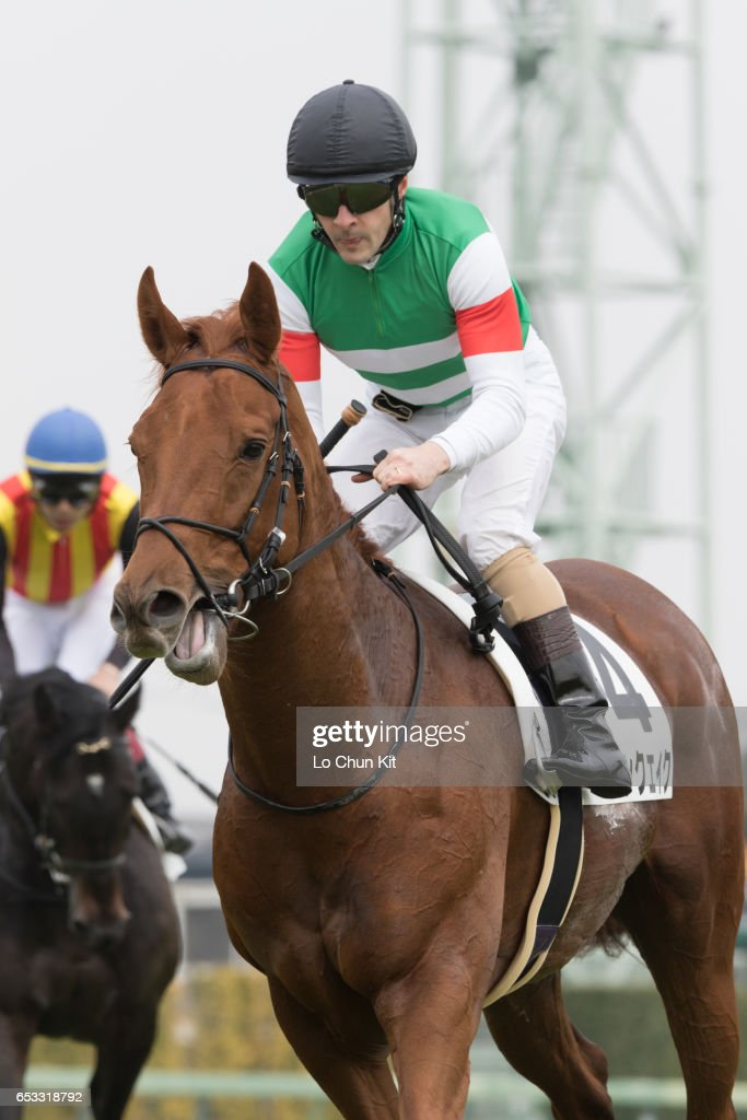 Jockey Christophe Lemaire riding Moonquake wins the Race 5 at Nakayama Racecourse on March 6, 2016 in Funabashi, Chiba, Japan.